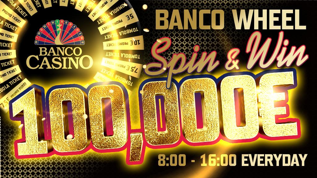 """Koleso šťastia """"BANCO WHEEL"""" rozdáva 100,000€ - zatočte kolesom každý deň!"""